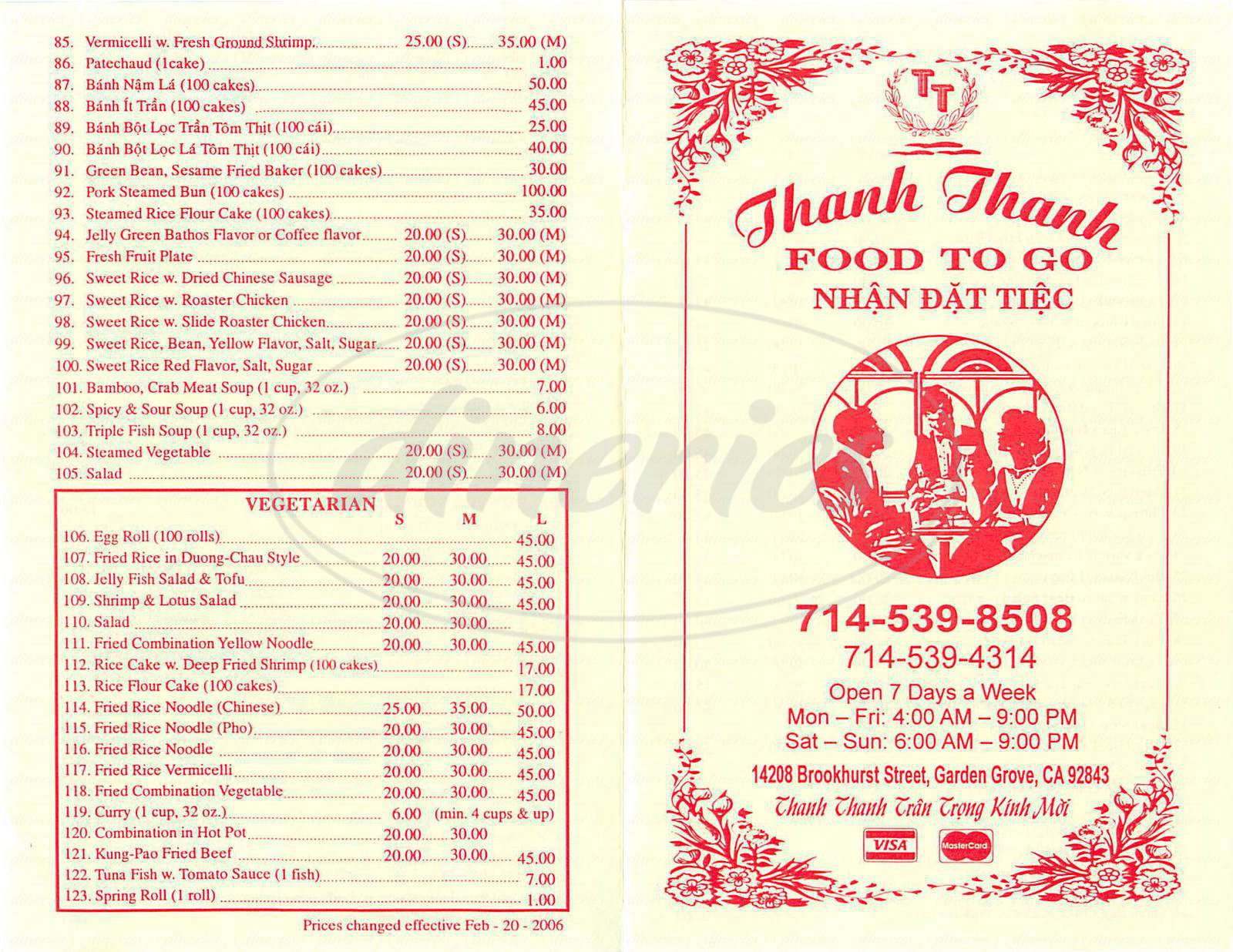 menu for Thanh Thanh Food to Go