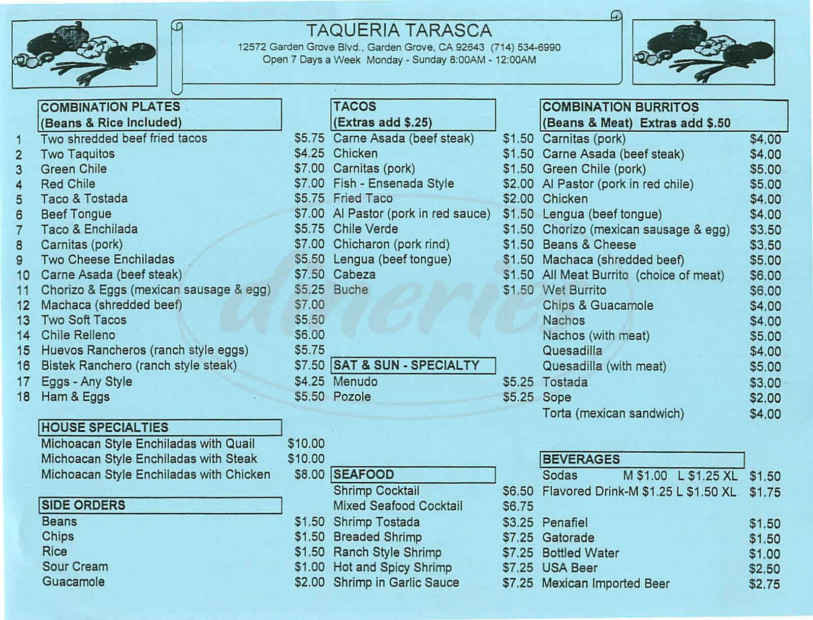 menu for Taqueria Tarasca