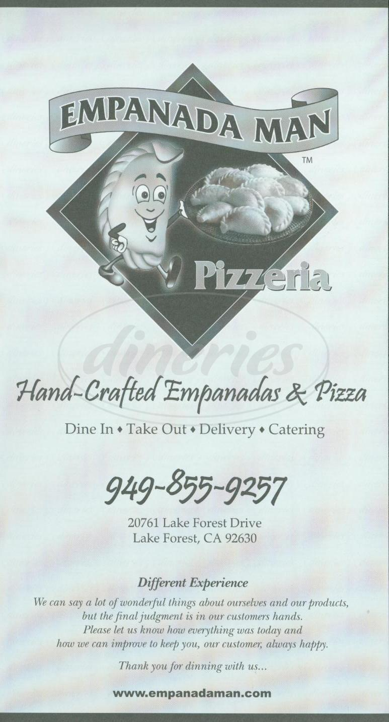 menu for Empanada Man Pizzeria