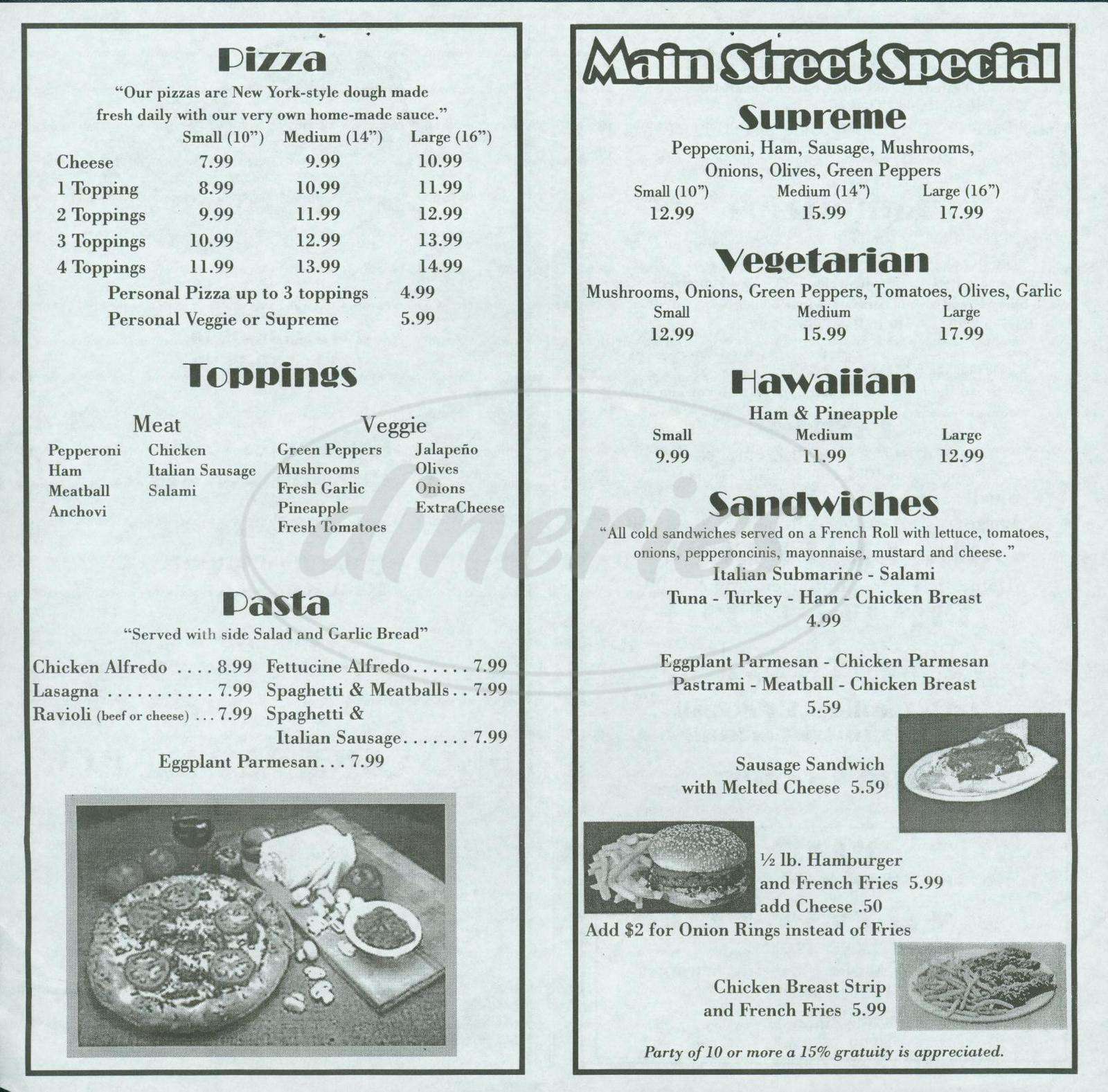 menu for Main Street Pizza