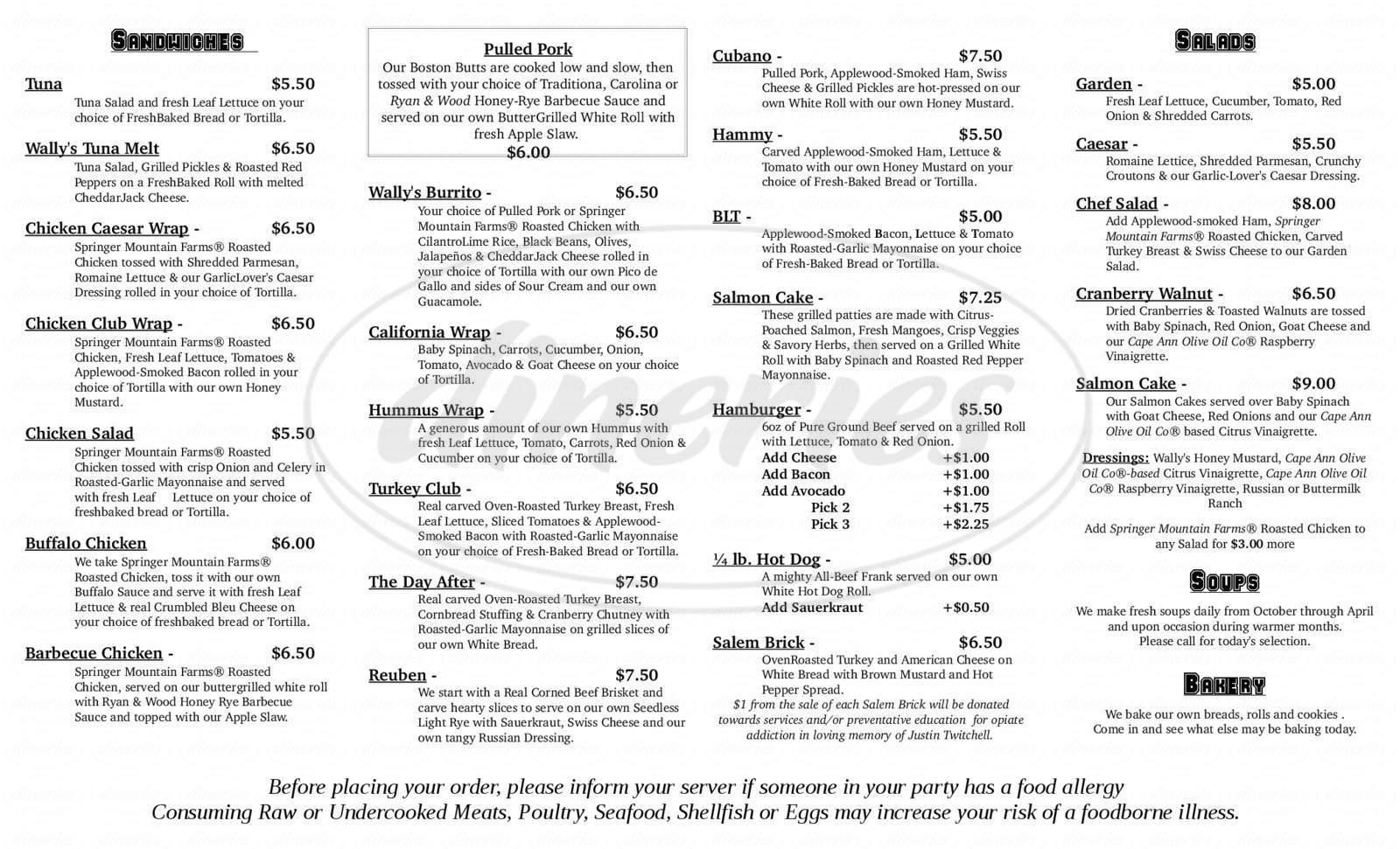 menu for Wally's Blackburn Bistro