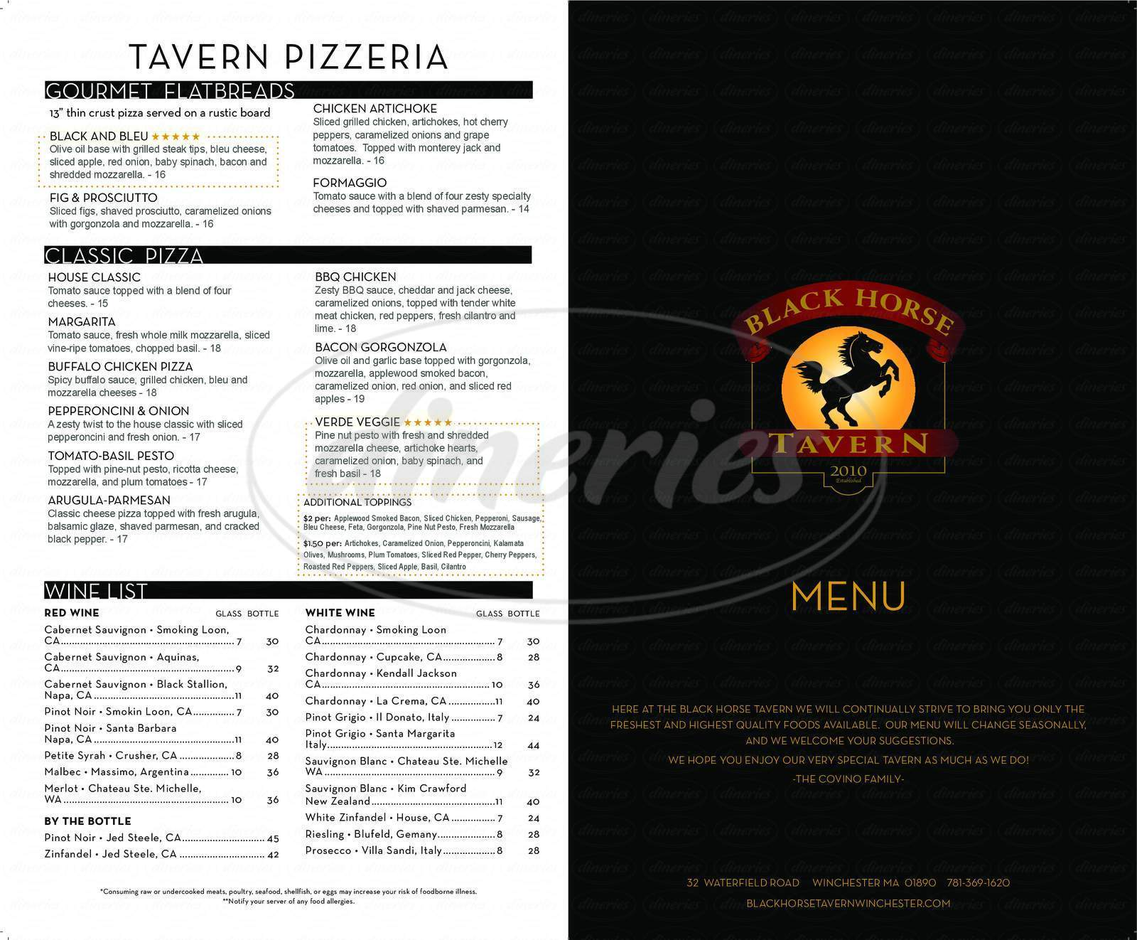 menu for Black Horse Tavern