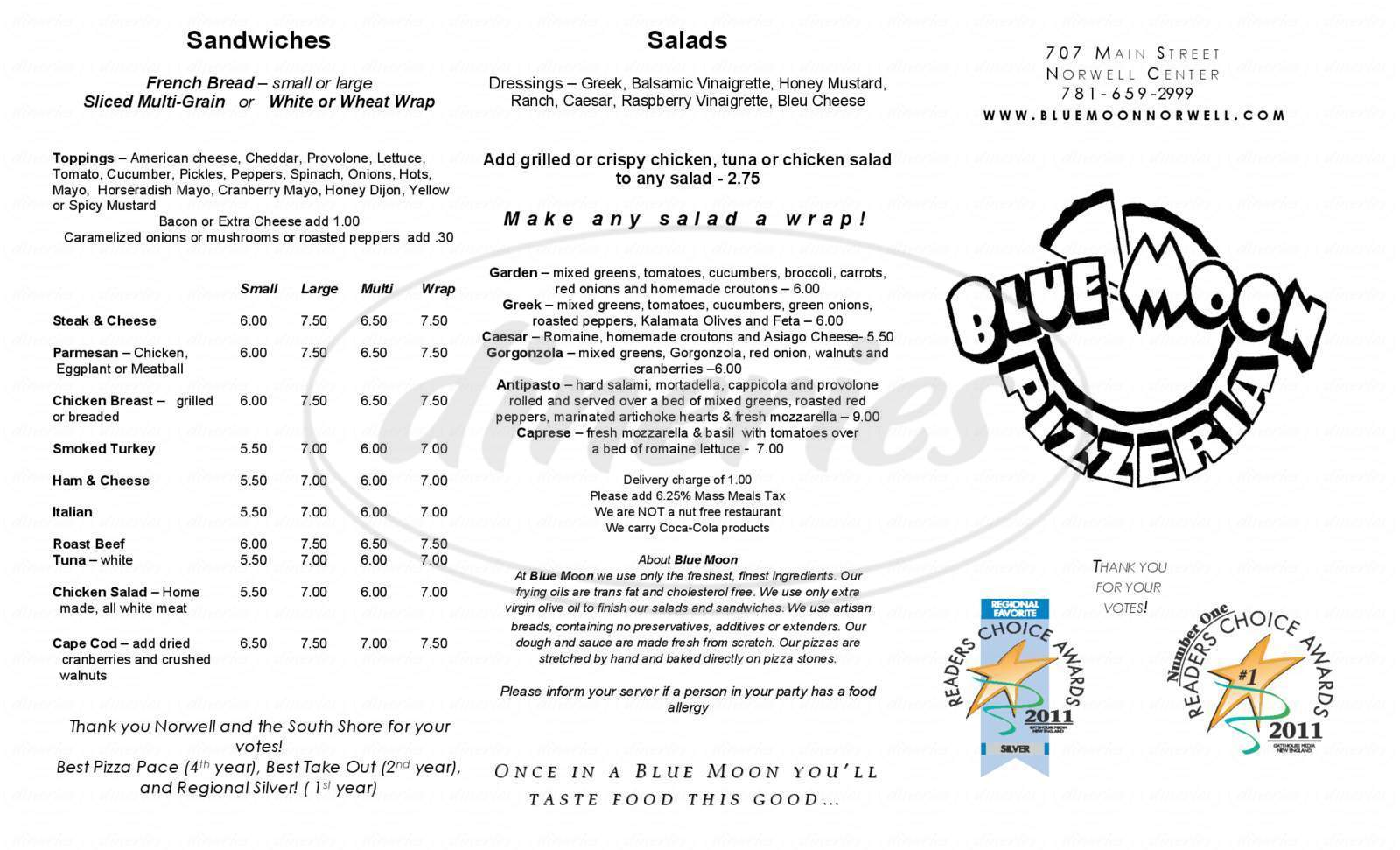 menu for Blue Moon Pizzeria