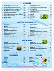 menu for Blue Water Sushi