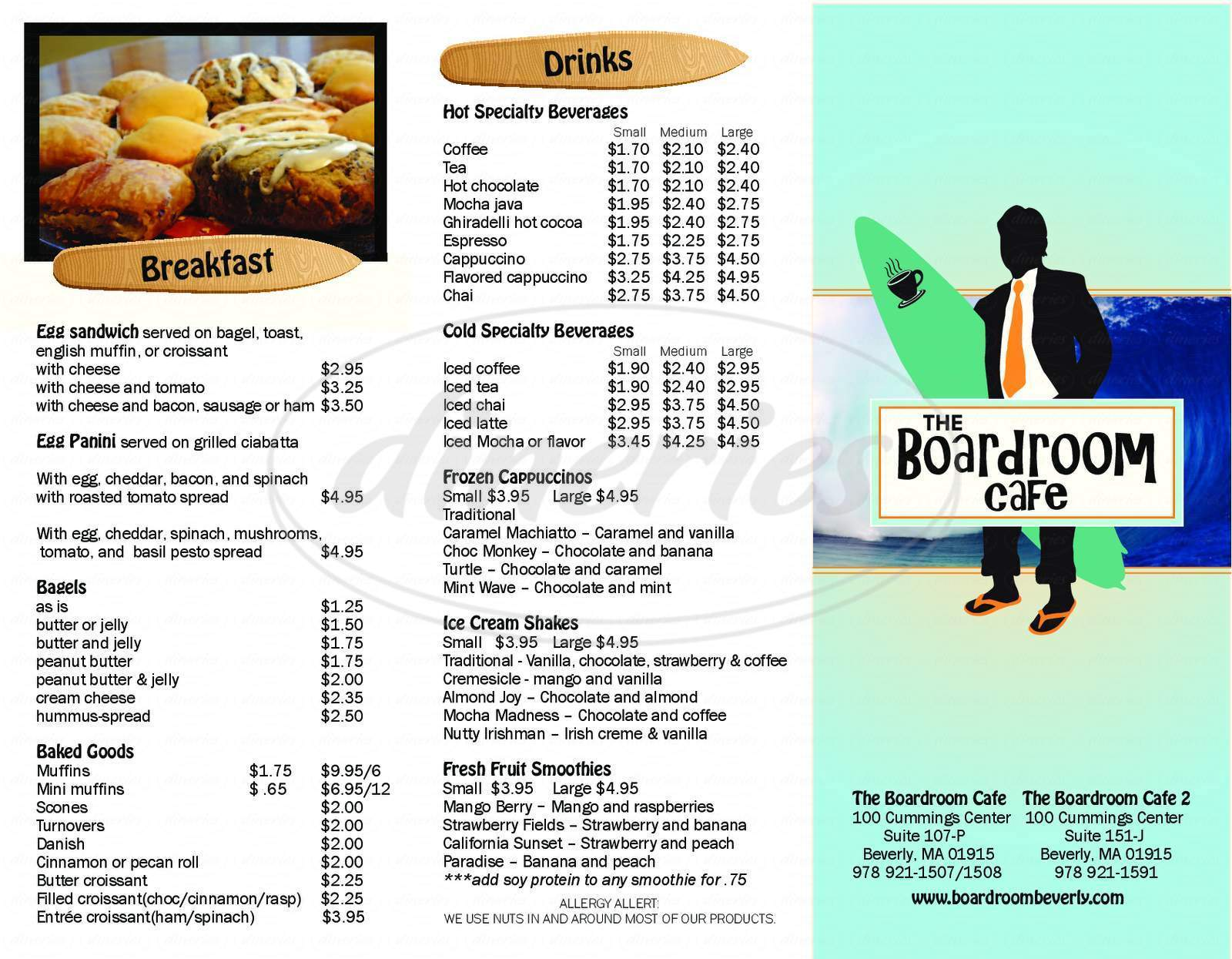 menu for The Boardroom Cafe
