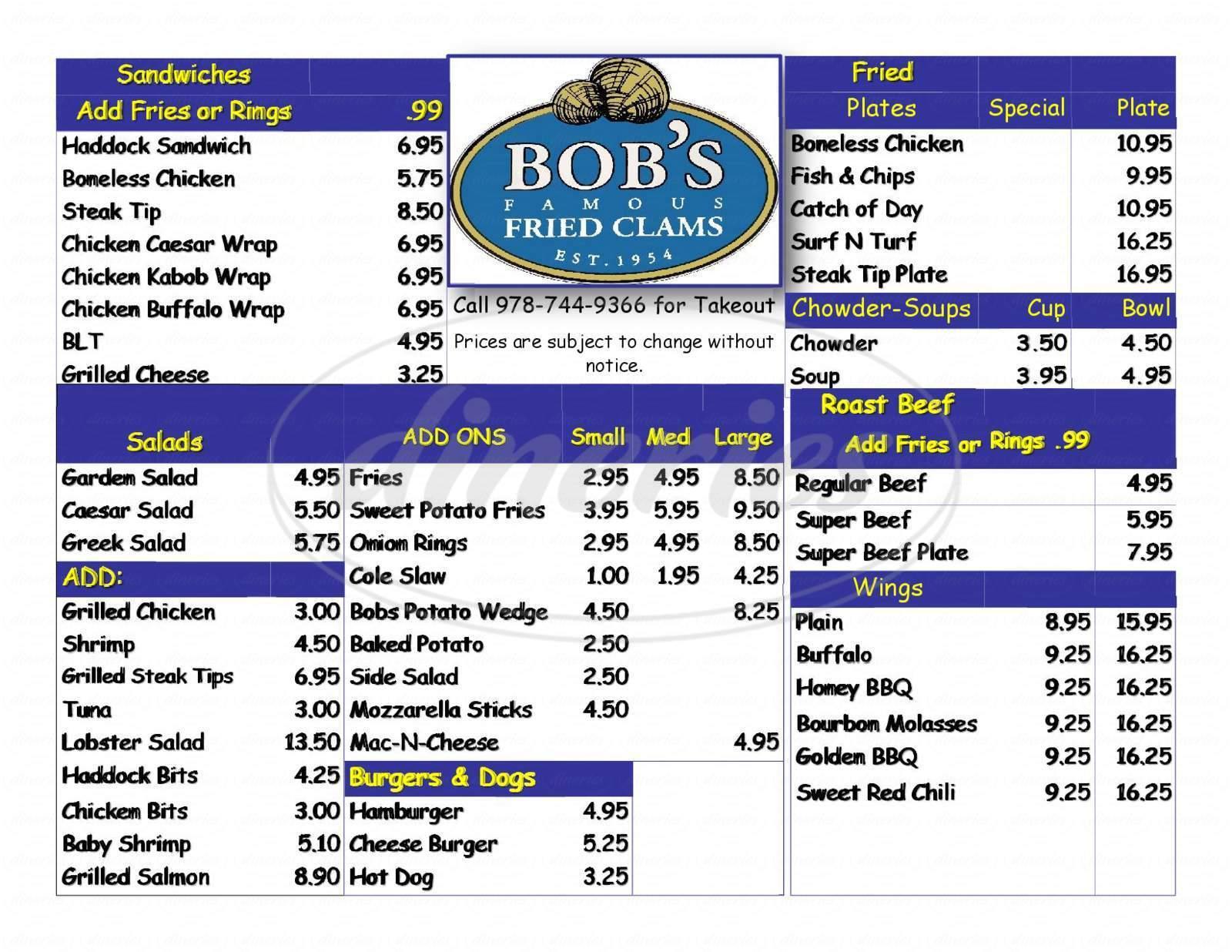 menu for Bob's Famous Fried Clams