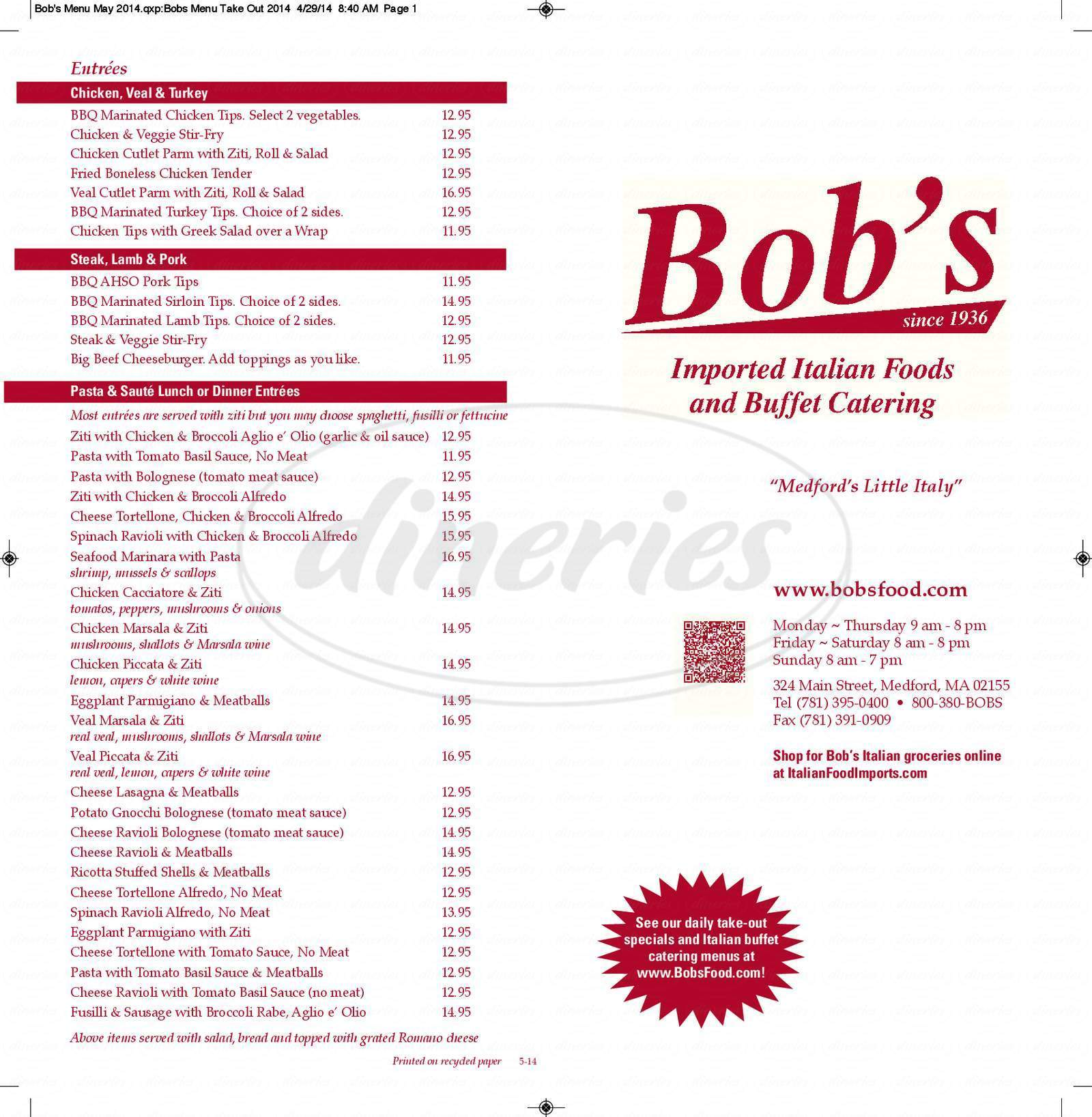 menu for Bob's Italian Food Store