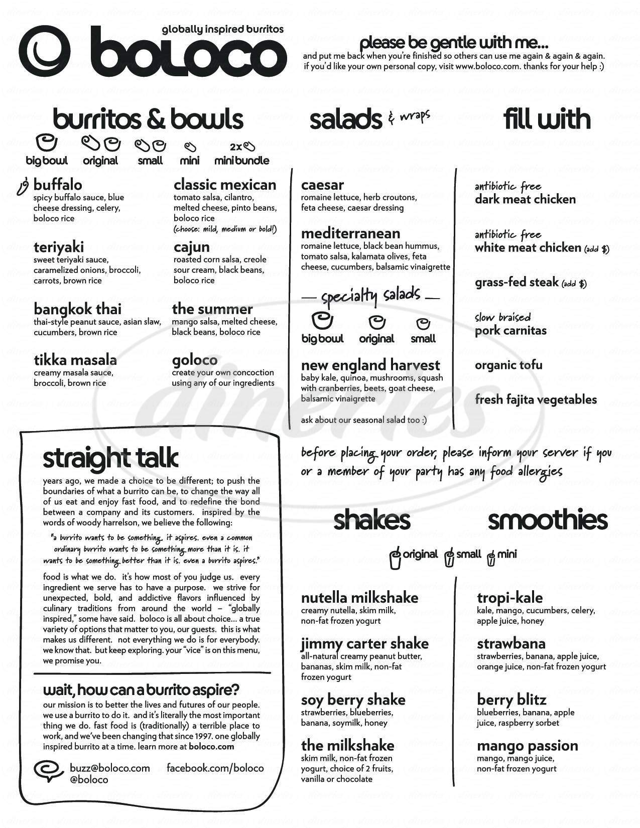 menu for Boloco Berklee