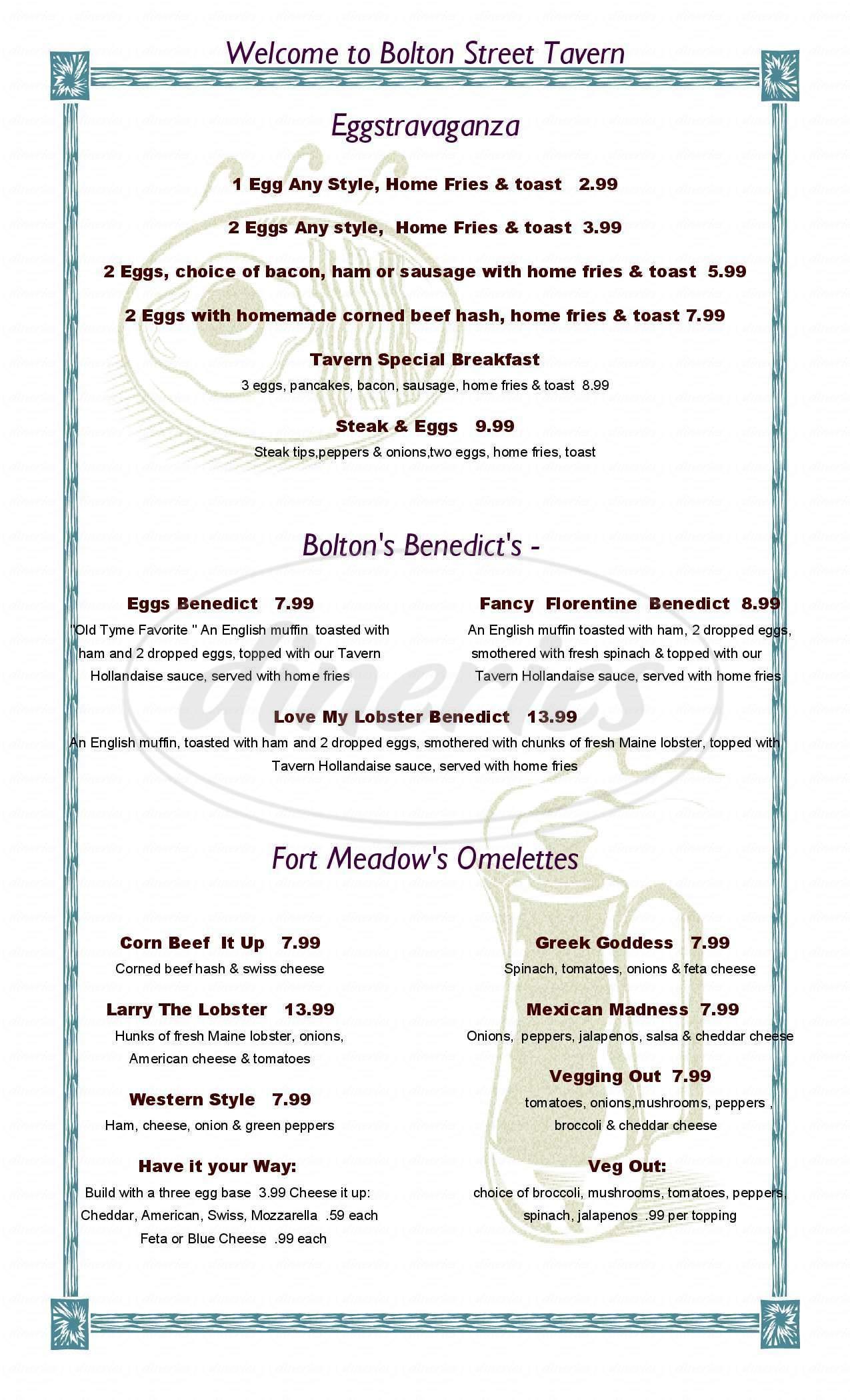menu for Bolton Street Tavern