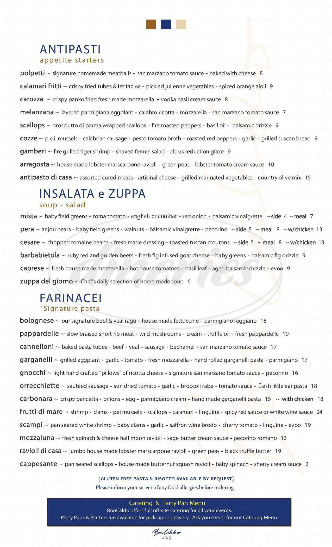 menu for BonCaldo Ristorante