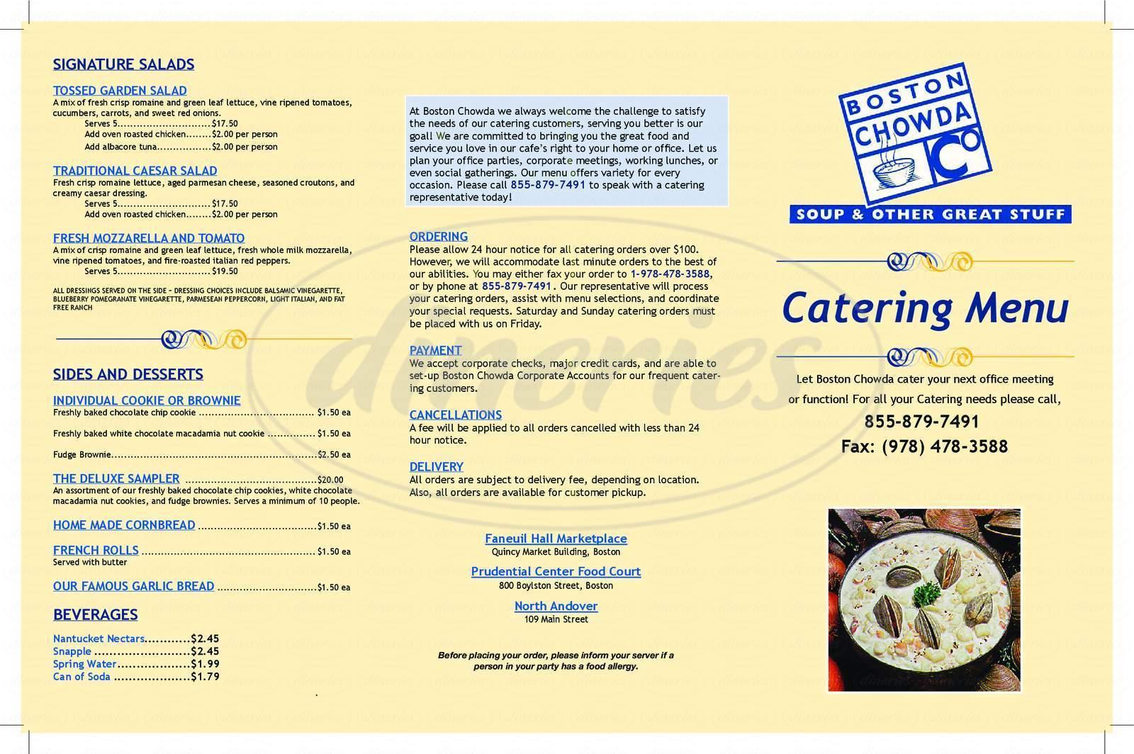 menu for Boston Chowda Co
