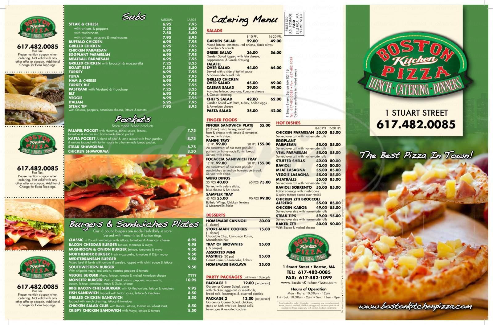 menu for Boston Kitchen Pizza