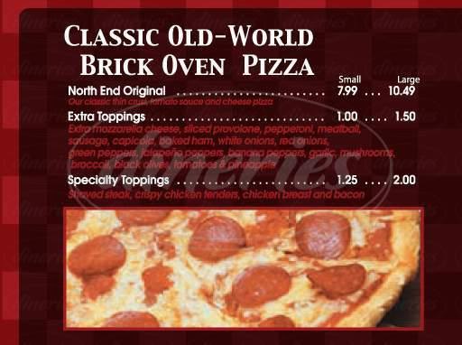 menu for Boston Pizza Company