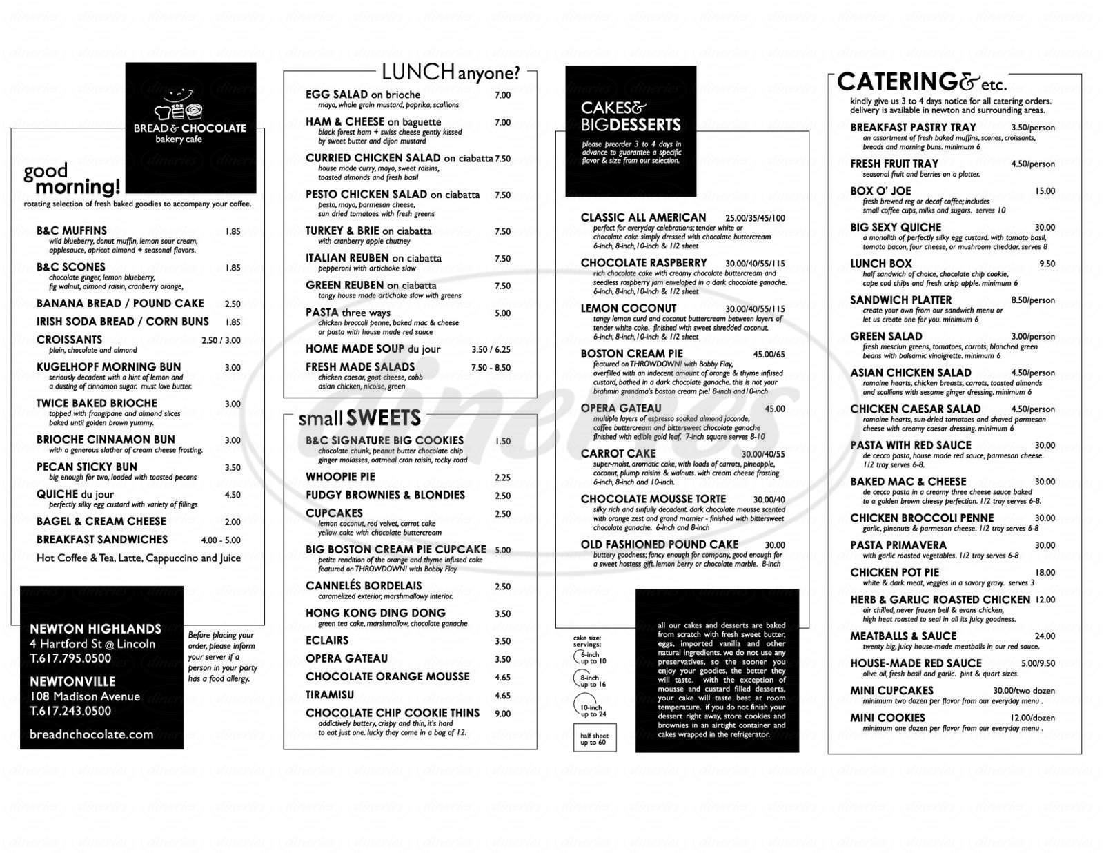 menu for Bread & Chocolate Bakery Cafe