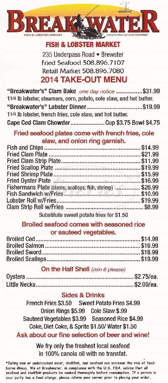 menu for Breakwater Fish & Lobster Co