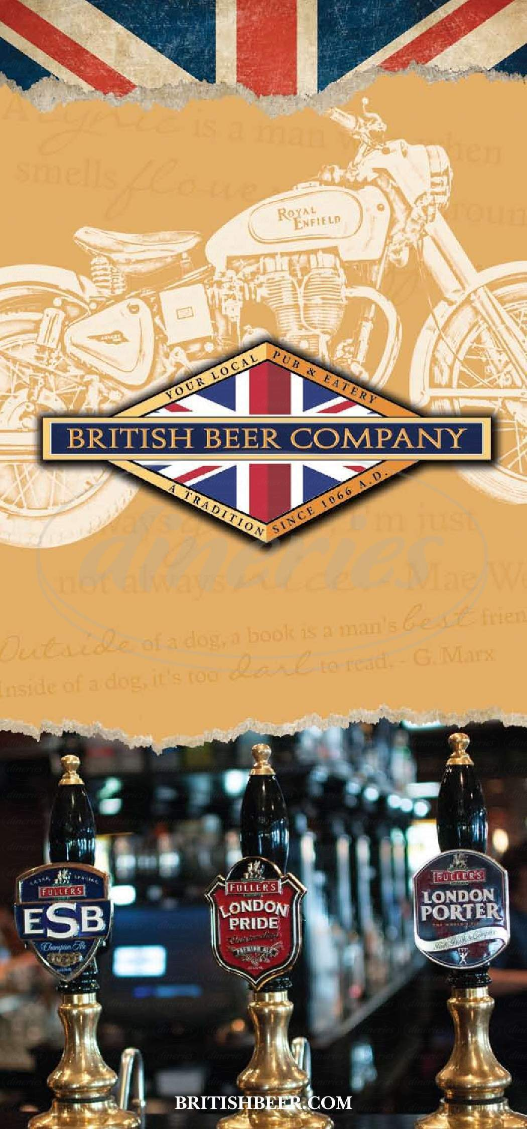 menu for Brittish Beer Company