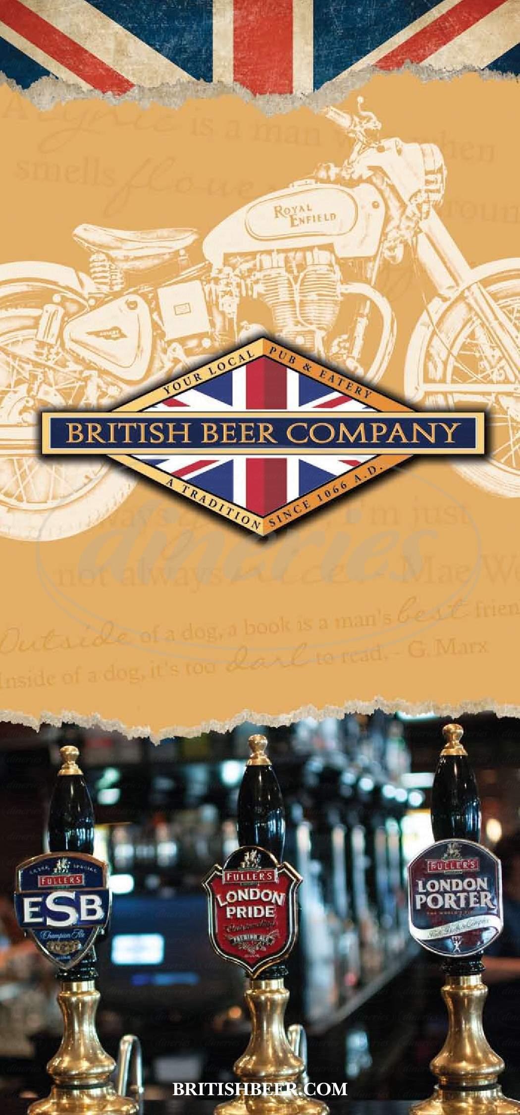 menu for British Beer Company