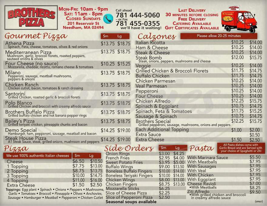 menu for Brothers Pizza & Restaurant