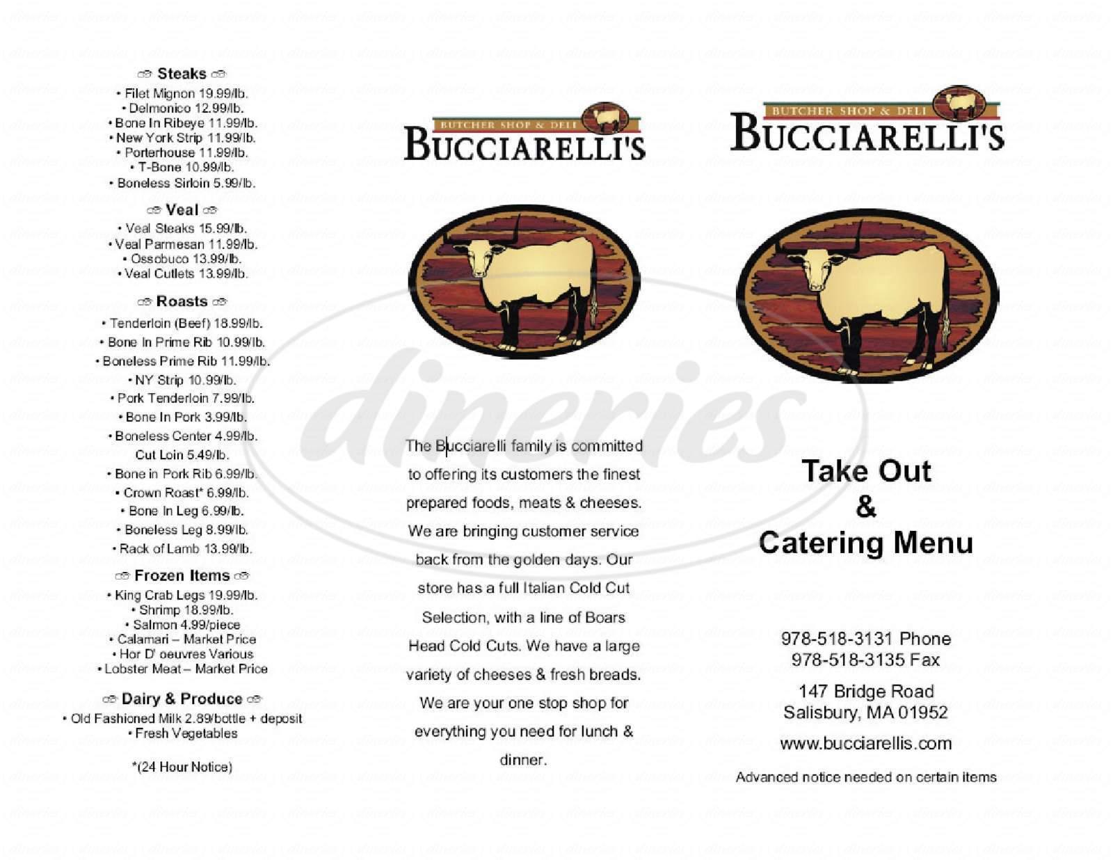 menu for Bucciarellis