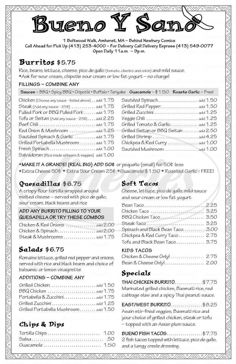 menu for Bueno y Sano