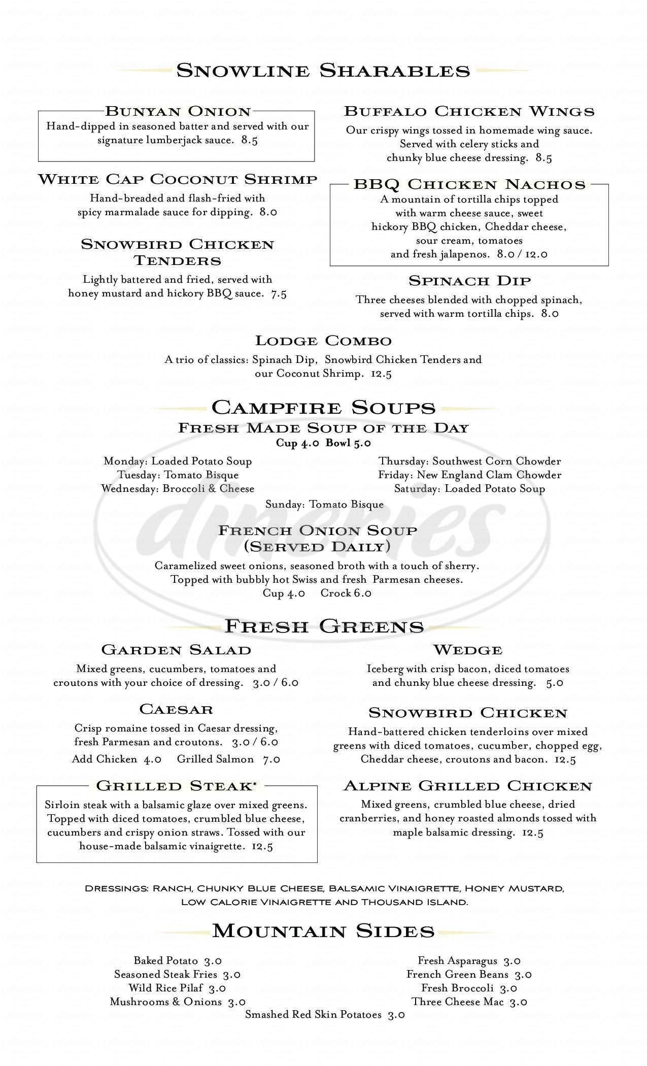 menu for Bugaboo Creek Steak House