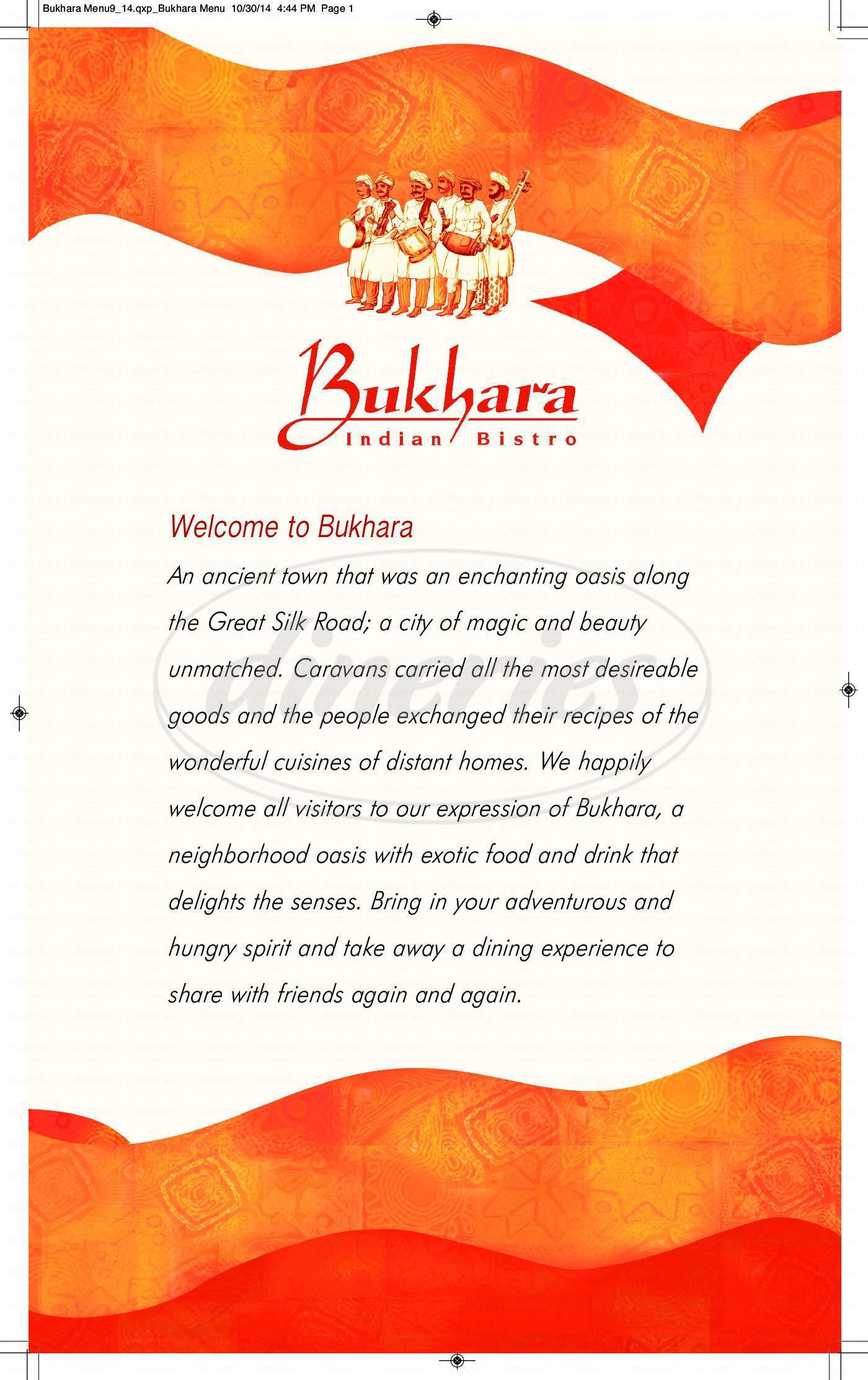 menu for Bukhara Indian Bistro