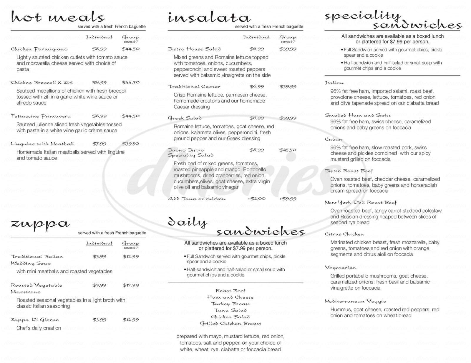 menu for Buono Bistro