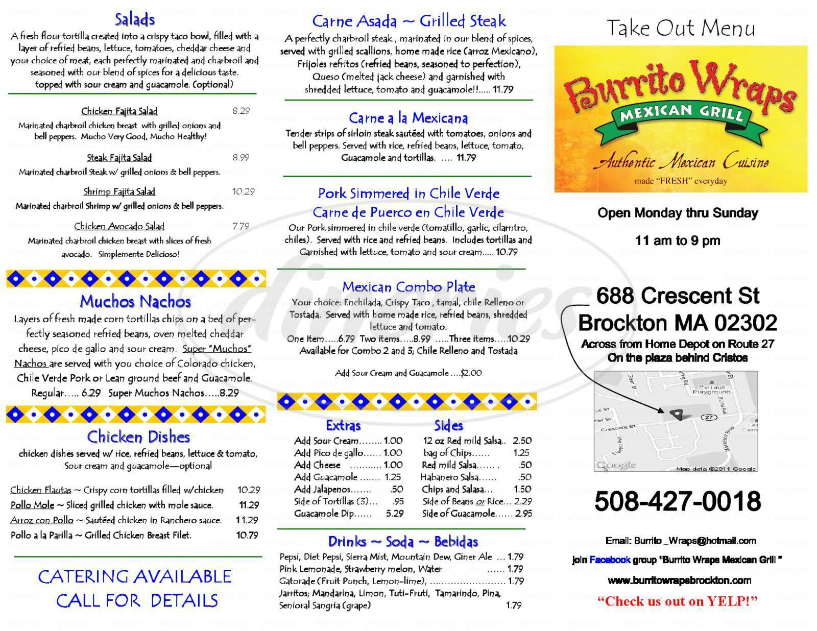 menu for Burrito Wraps Mexican Grill