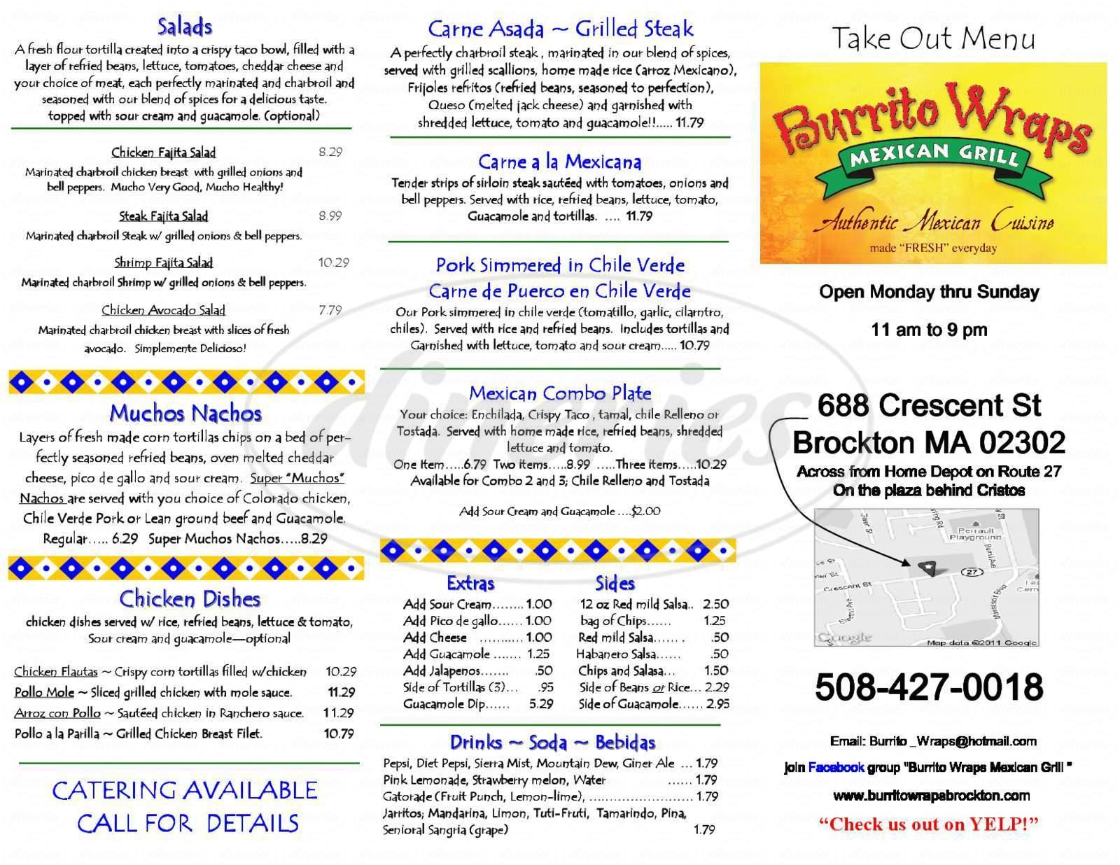 menu for Burrito Wraps Mexican Grill