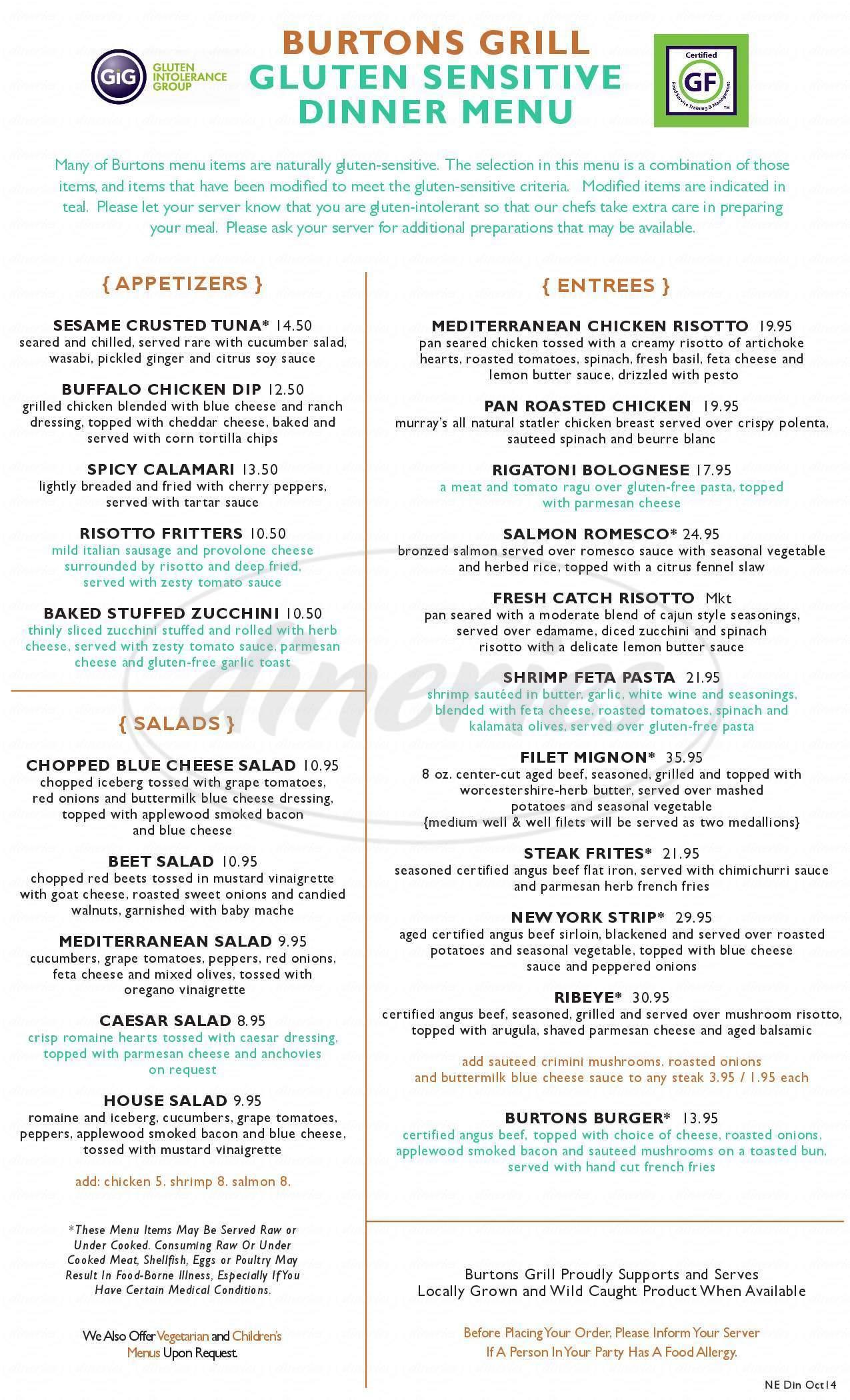 menu for Burtons Grill