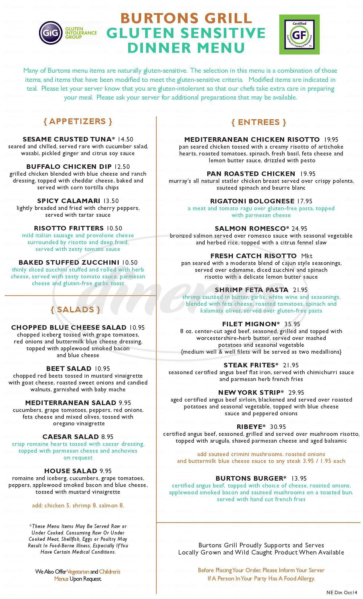 menu for Burtons Grill