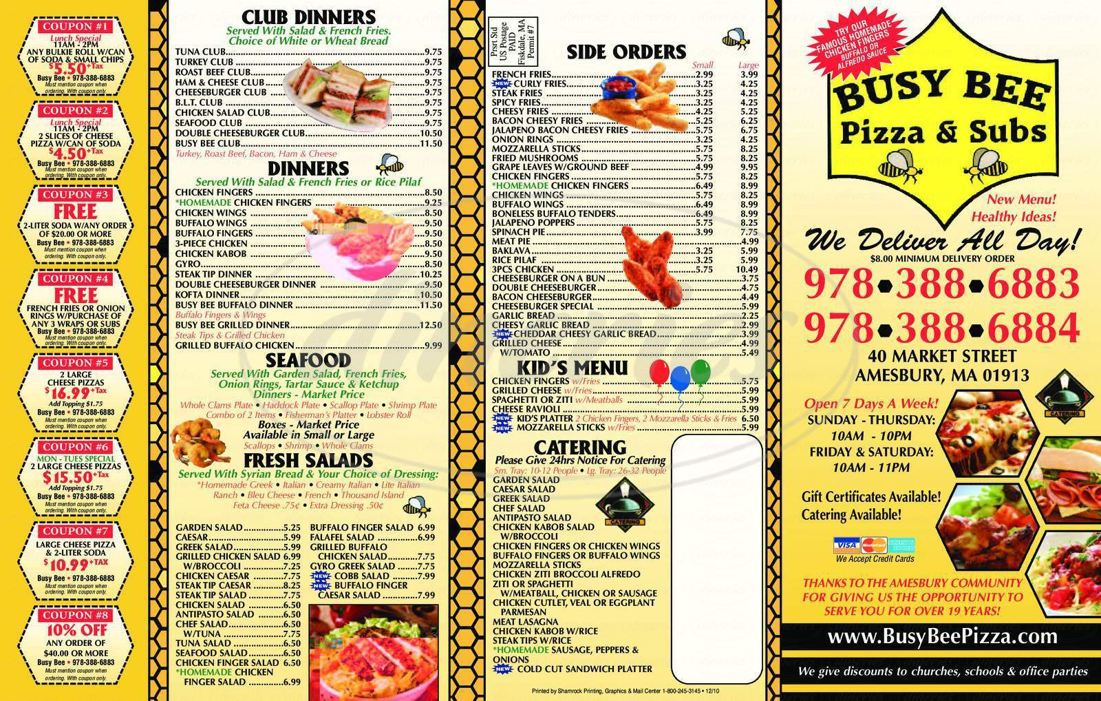 menu for Busy Bee Pizza & Subs