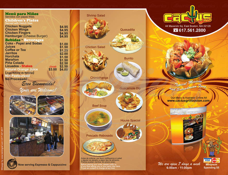 menu for Cactus Mexican Grill