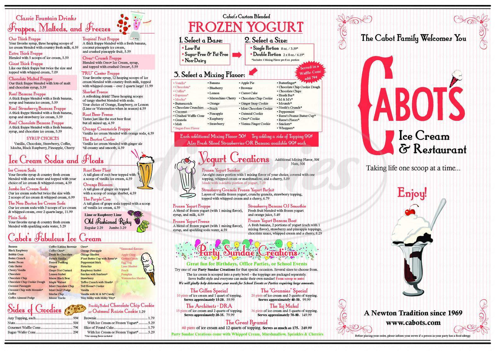 menu for Cabot's Ice Cream & Restaurant