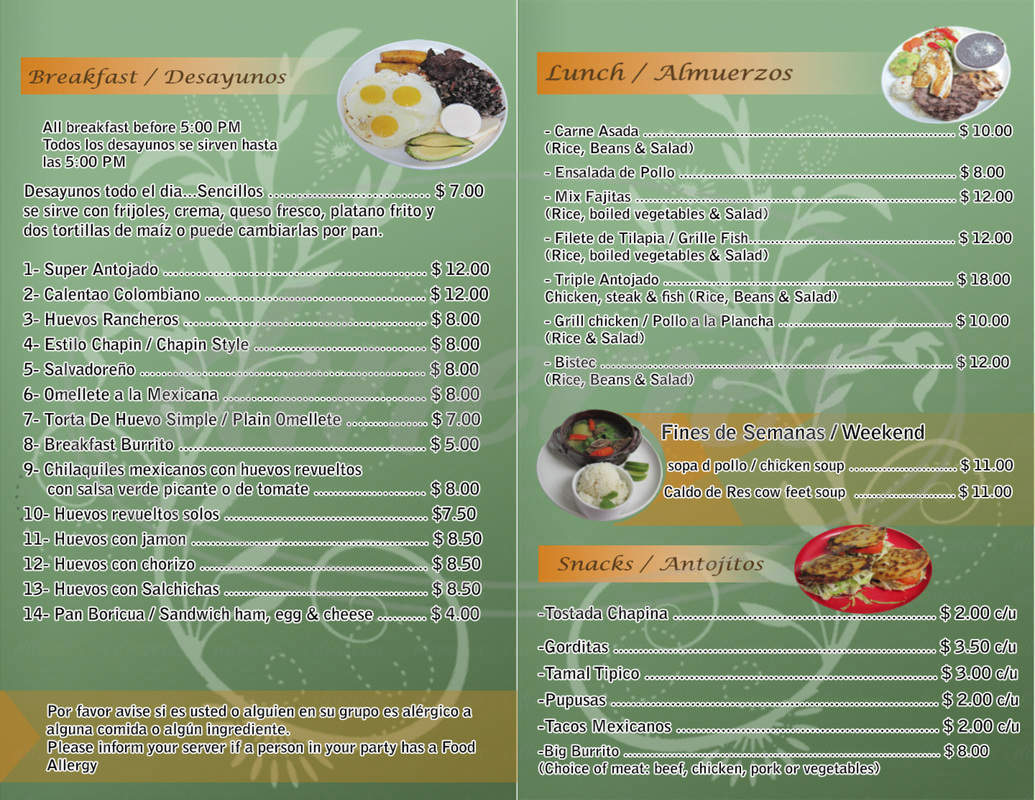 menu for Antojitos Cafe