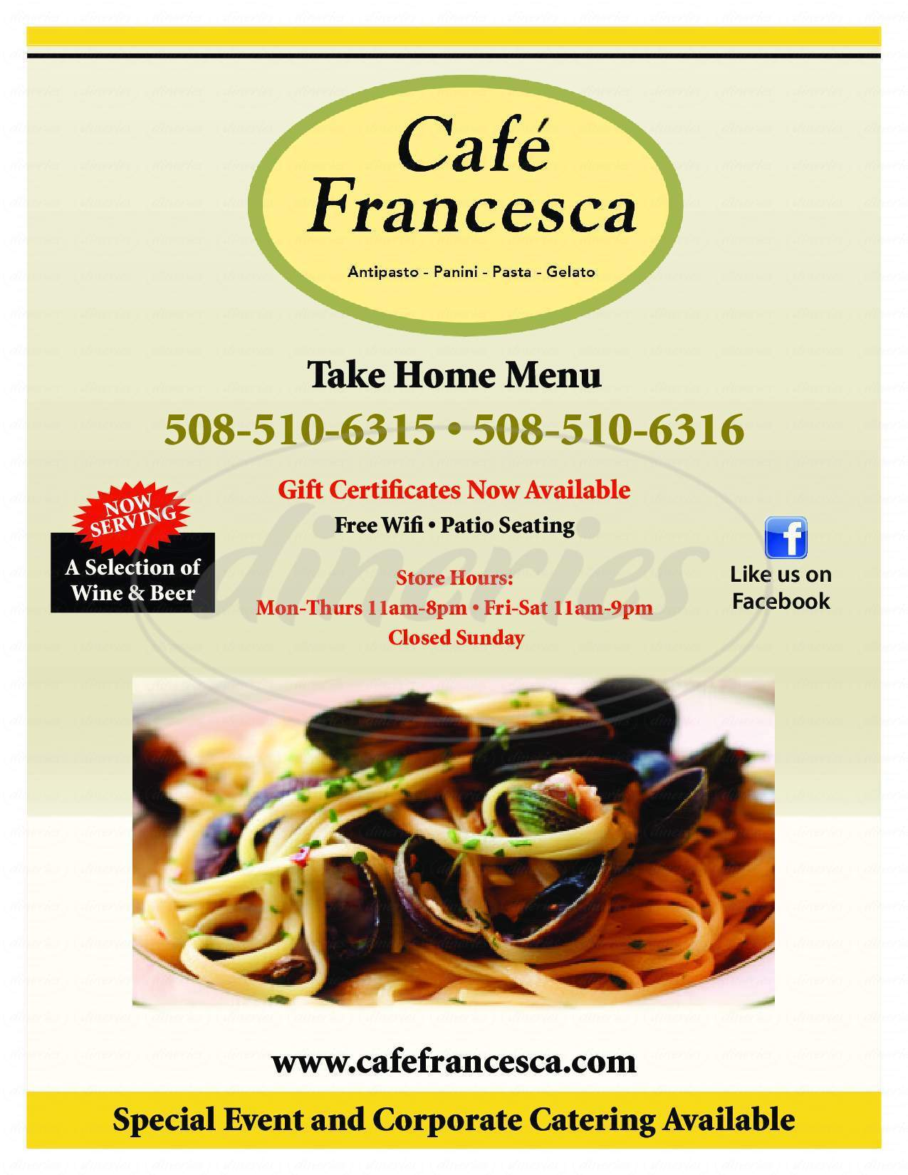 menu for Café Francesca