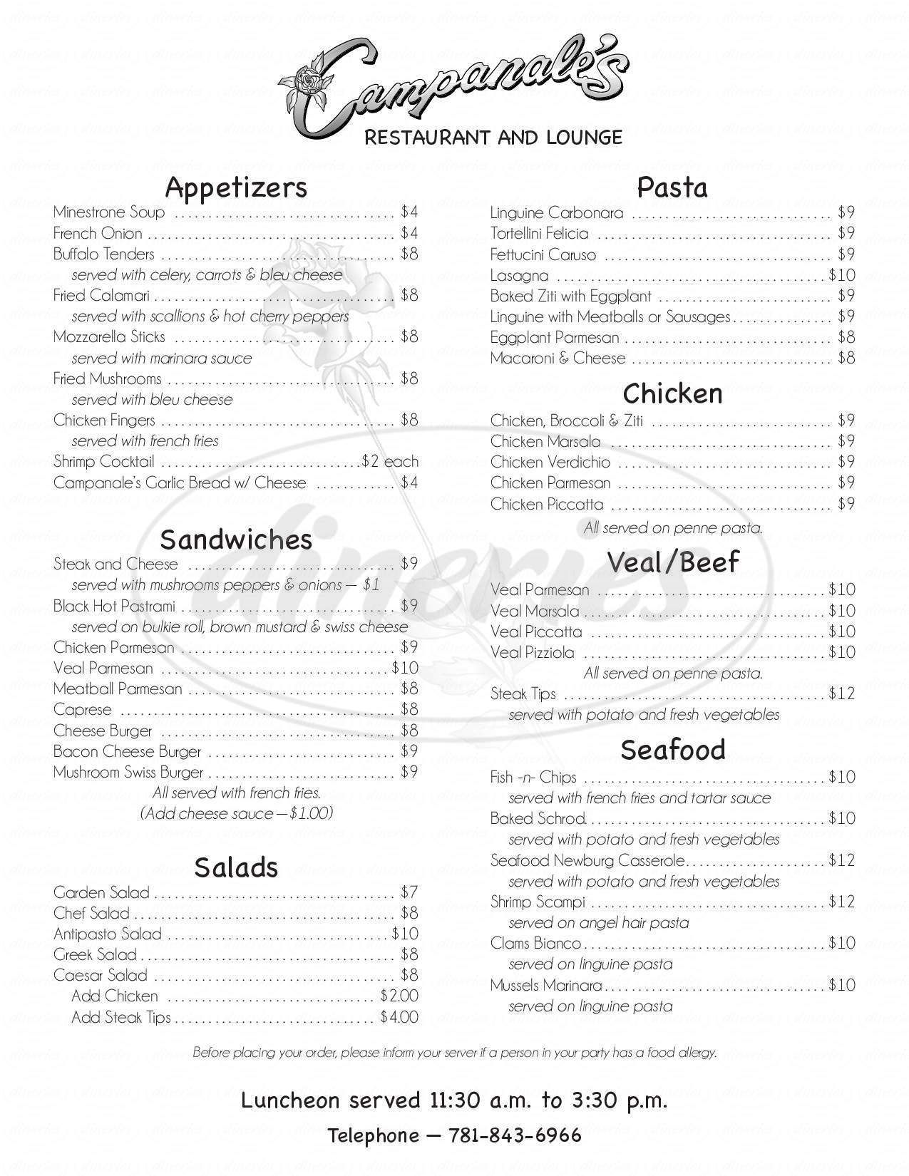 menu for Campanale's Restaurant & Lounge