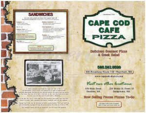 menu for Cape Cod Cafe Pizza
