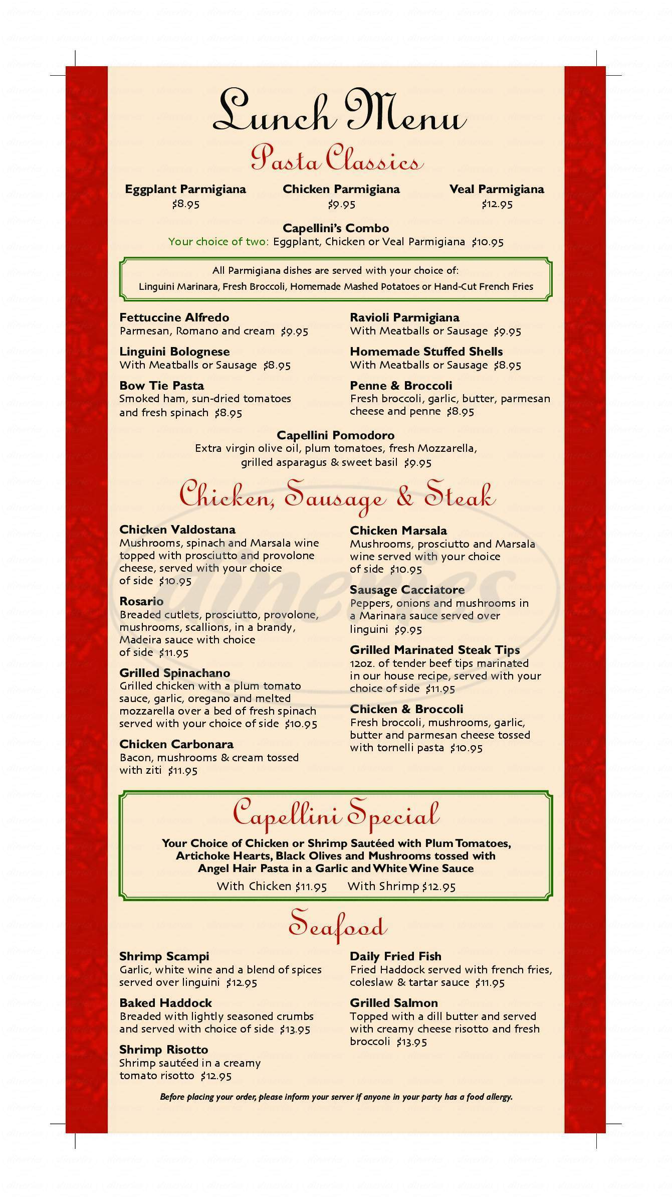 menu for Capellini's