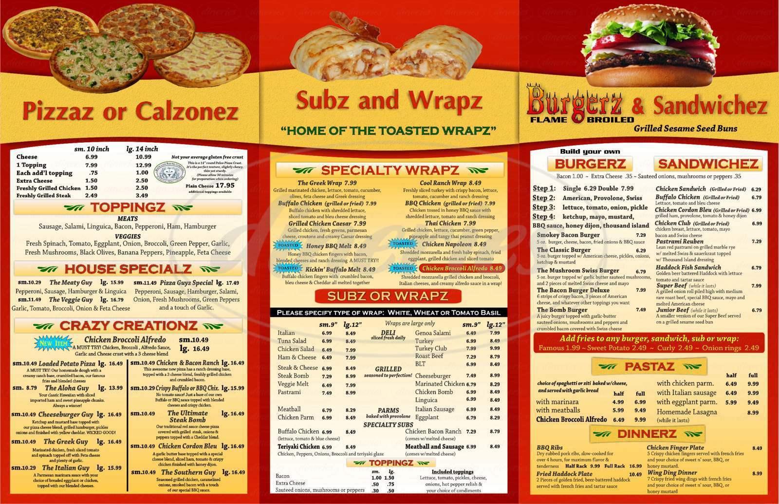 menu for The Pizza Guyz