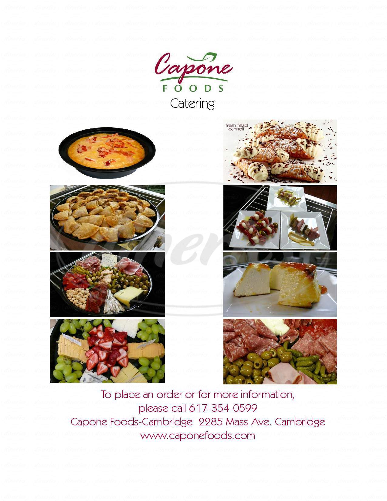 menu for Capone Foods Cambridge