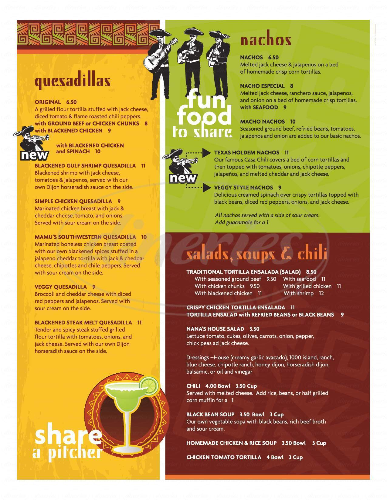 menu for Casa De Nana
