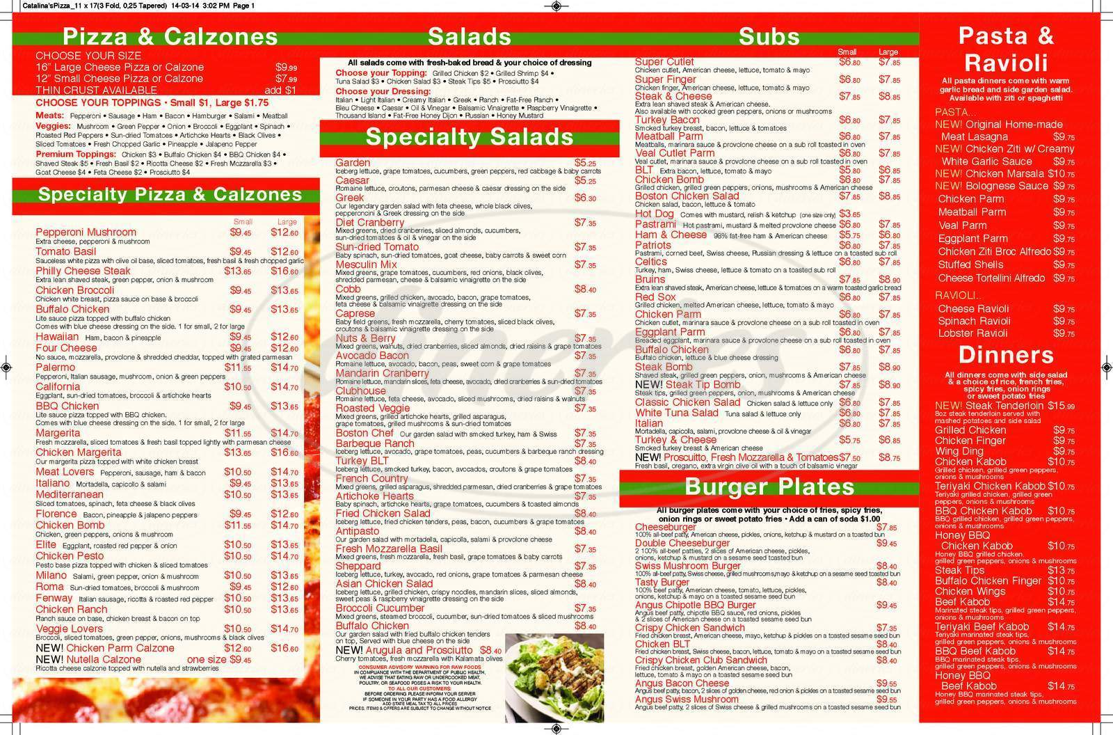 menu for Catalina's Pizza