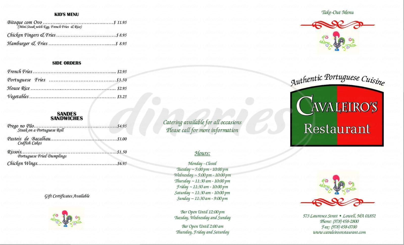 menu for Cavaleiro's Restaurant