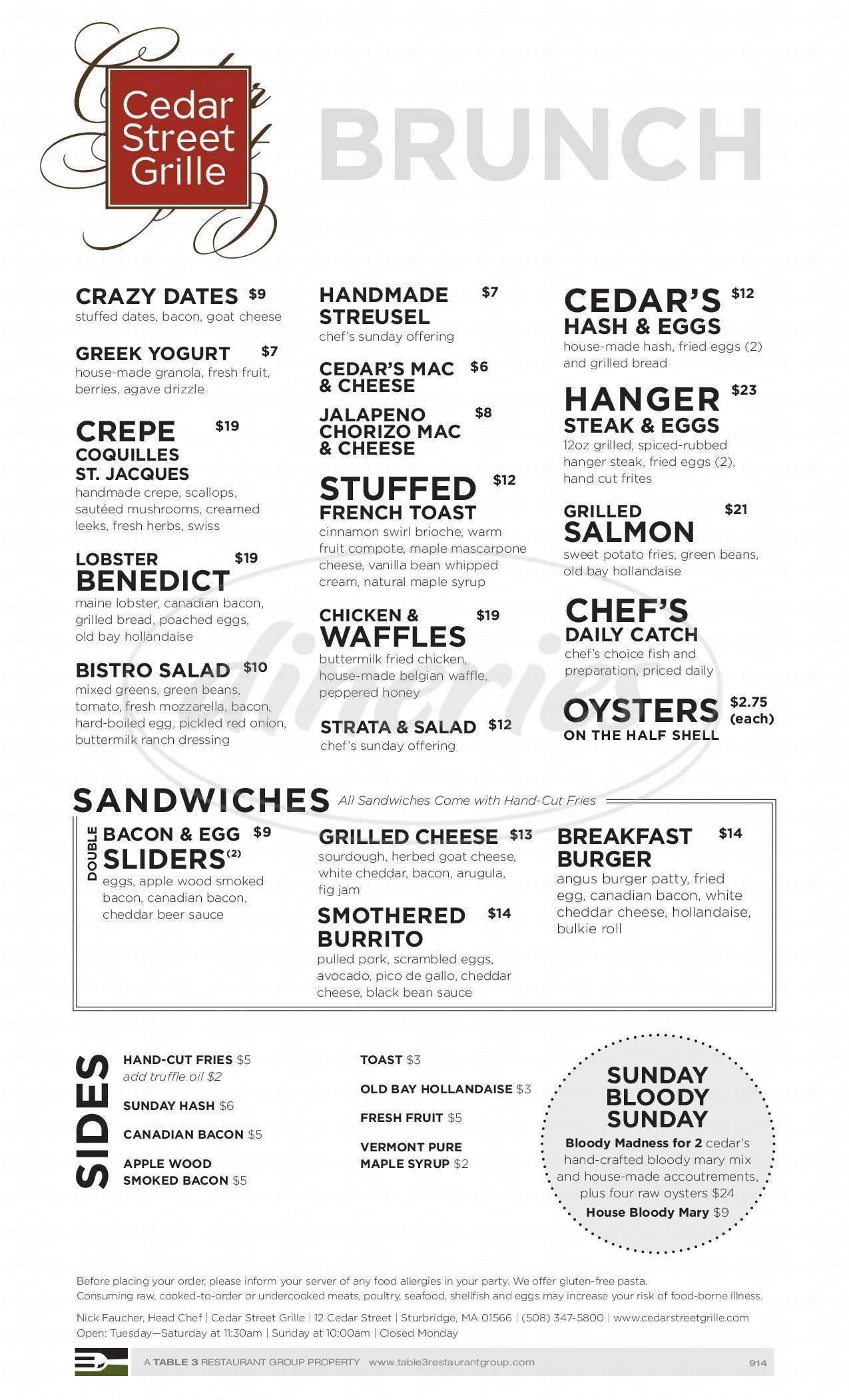 menu for Cedar Street Grille