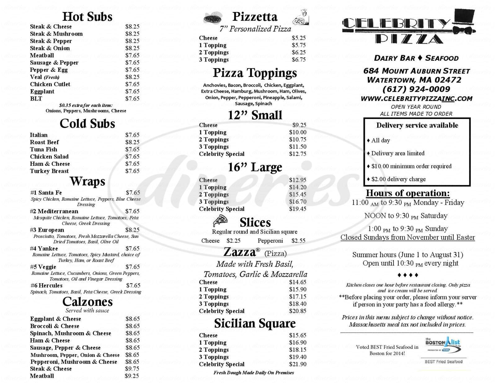 menu for Celebrity Pizza & Dairy Bar