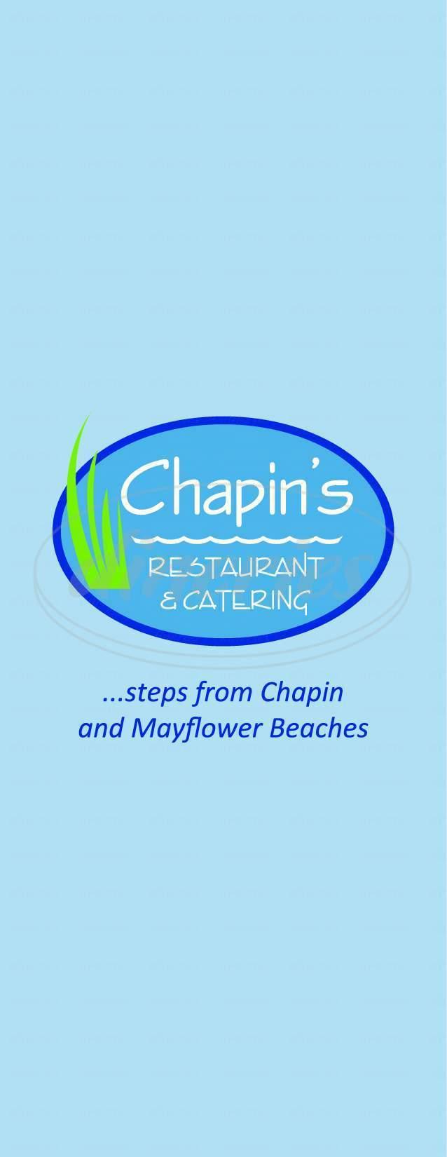 menu for Chapin's Restaurant