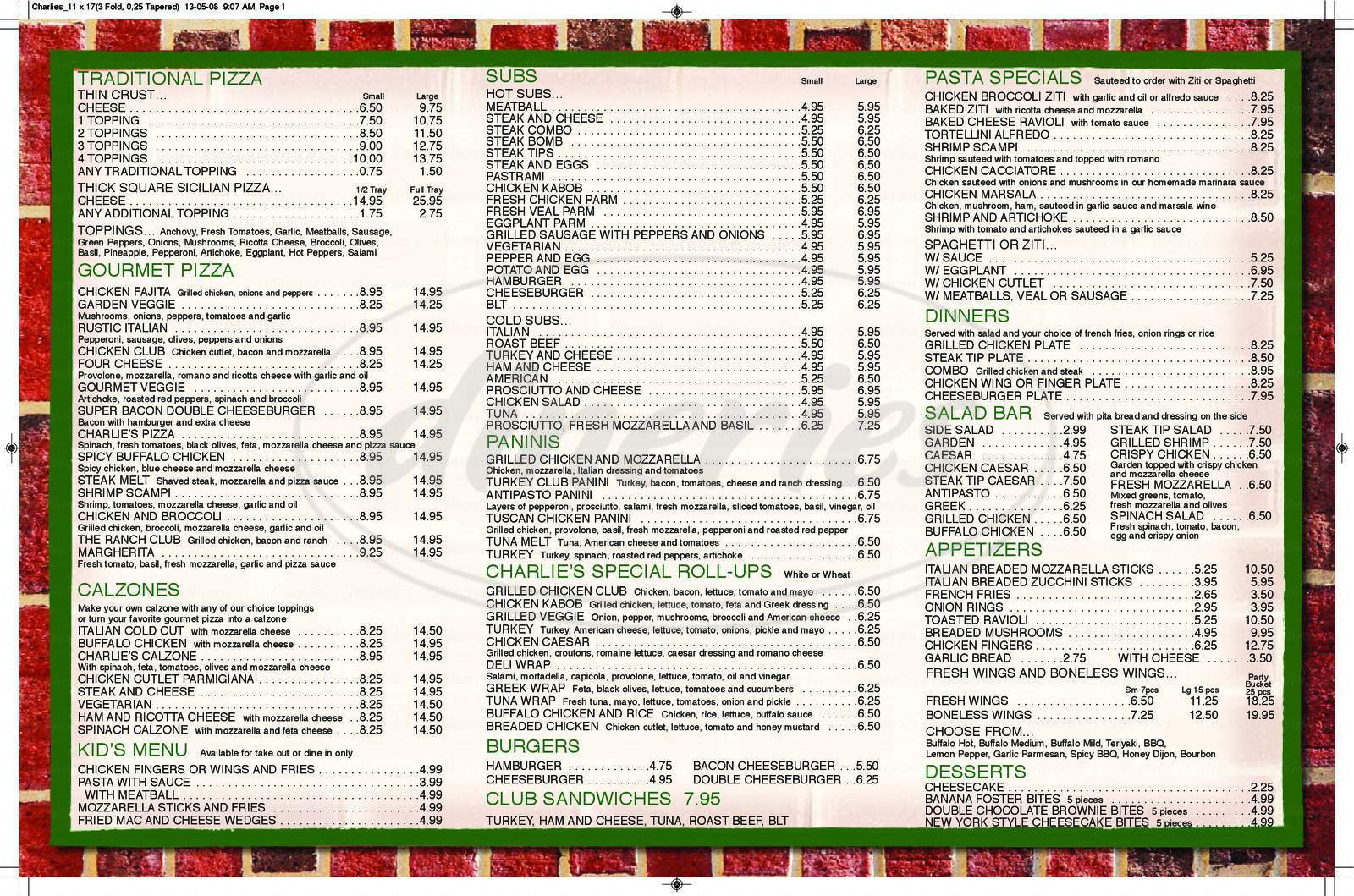 menu for Charlie's Pizzeria