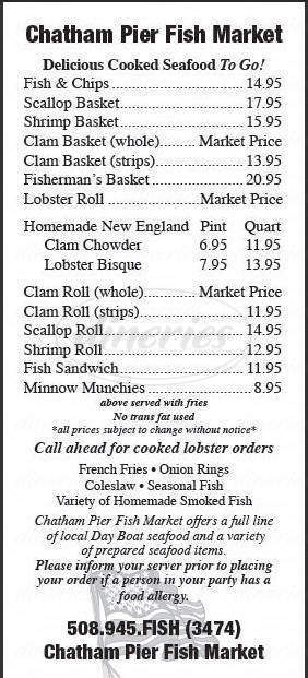 menu for Chatham Pier Fish Market
