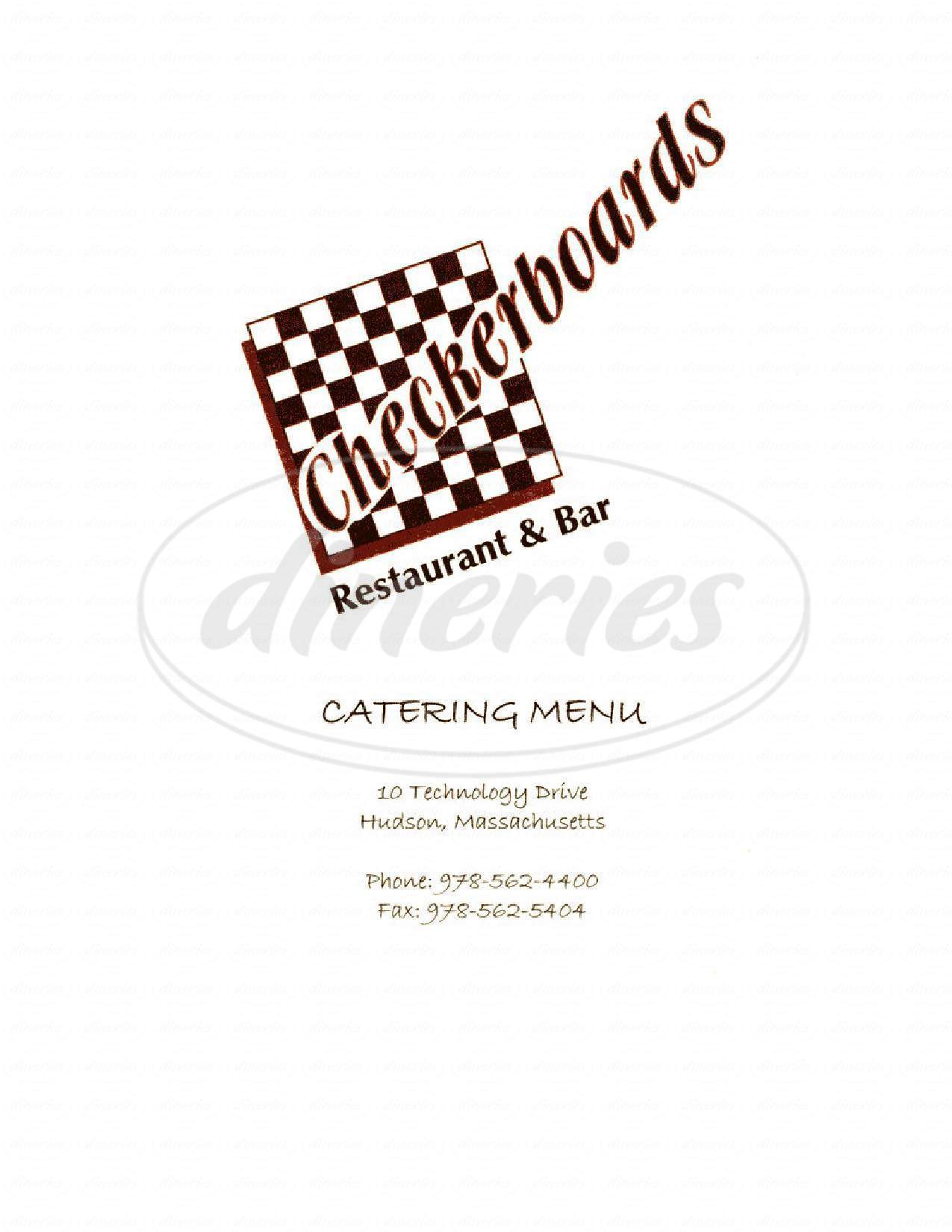 menu for Checkerboards Pizza Restaurant & Bar